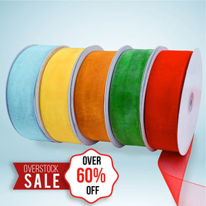 "12 rolls of 100 Yards 5/8"" Sheer Ribbon With Monofilament Edge"
