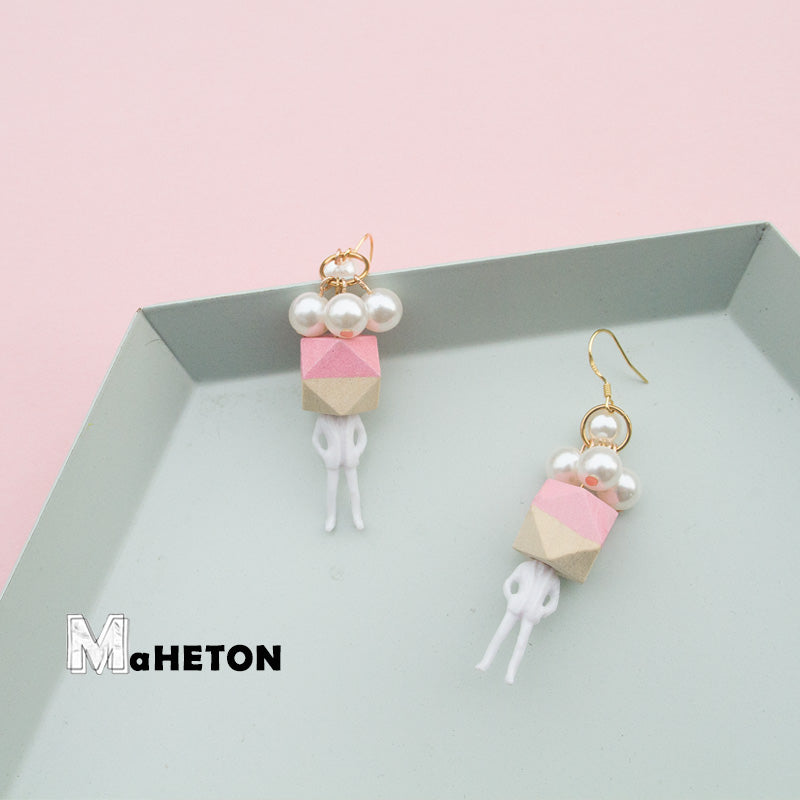 Pearl Geometry Man Drop Earrings