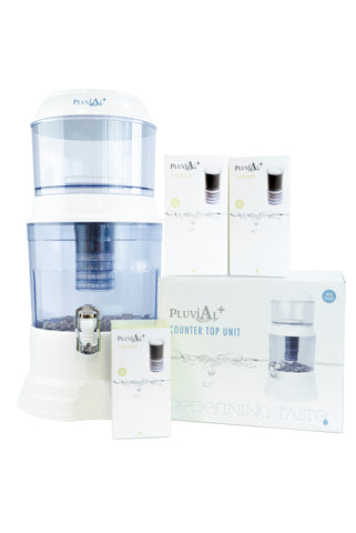 2 Year Countertop unit Pack - (includes Upper Tank, Lower Tank, 1 x ceramic filters, 1 x 5 stage filters, 1 x mineral stones) + 3 x extra 5 stage filters & 1 x extra Ceramic Filter