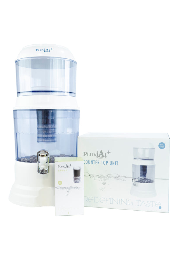 Pluvial Plus Water Filter Countertop Unit - One Year Family Bundle
