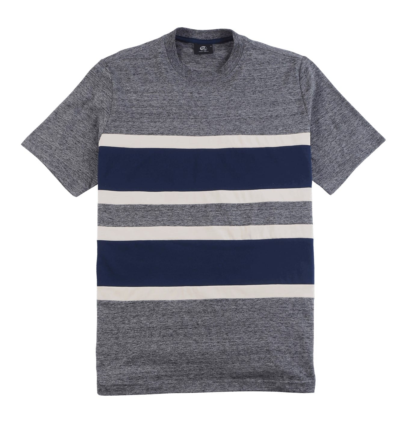 Image of Ash Grey T-shirt with Fabric Stribes