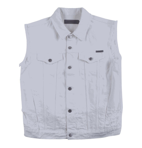 Denim Vest Shredded White