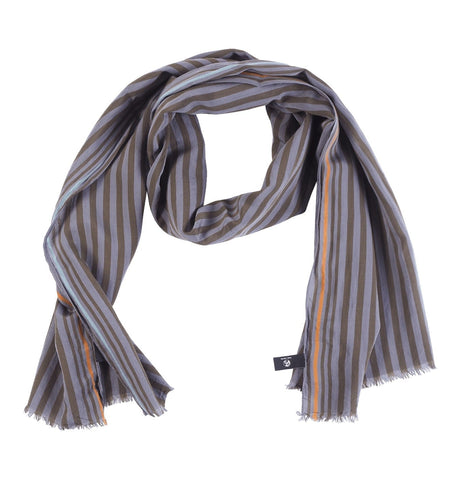 Men's Scarf Two Stripe Grey