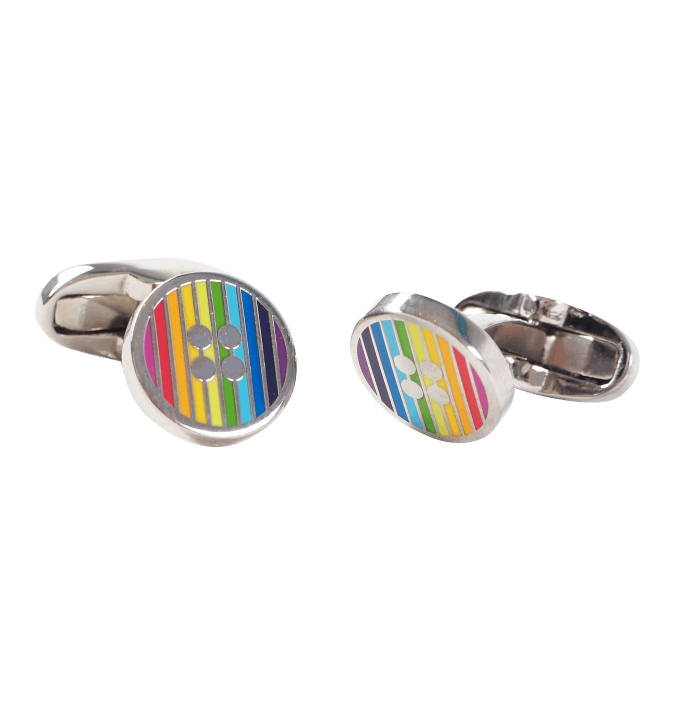 Image of   Men's Signature Stripe Button Cufflinks