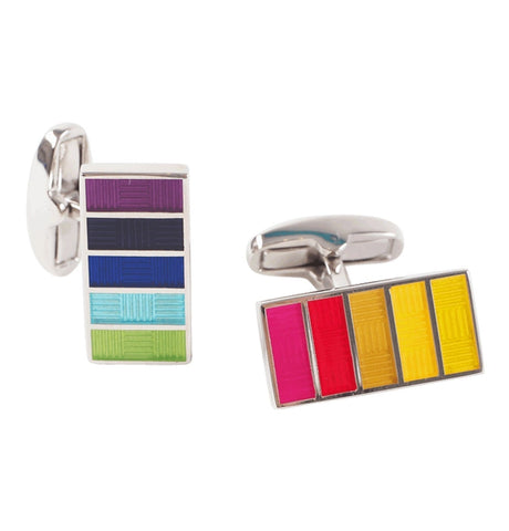 PS Paul Smith - Men's Multicoloured Basket Weave Stripe Cufflinks
