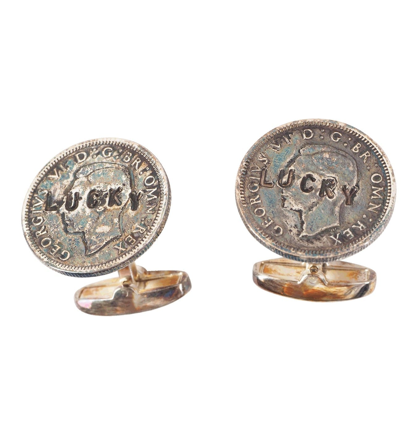Image of   Men's Lucky Sixpence Silver-Tone Cufflinks