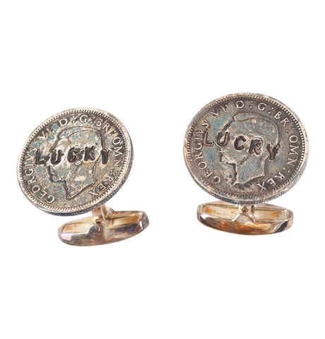 Men's Lucky Sixpence Silver-Tone Cufflinks