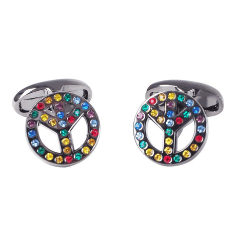 PS Paul Smith - Men's Colour Stone Peace Sign Cufflinks