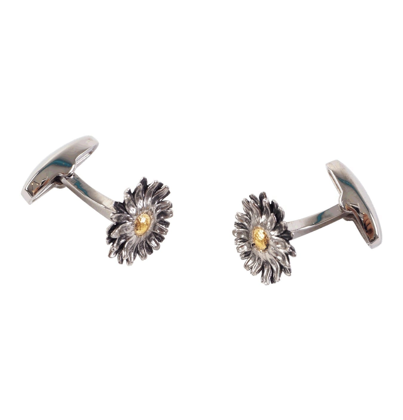 Image of   Men's Flower Silver and Gold-toned Cufflinks