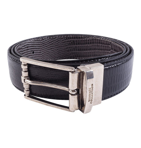 Versace Collection - Leather Belt with Scale Pattern