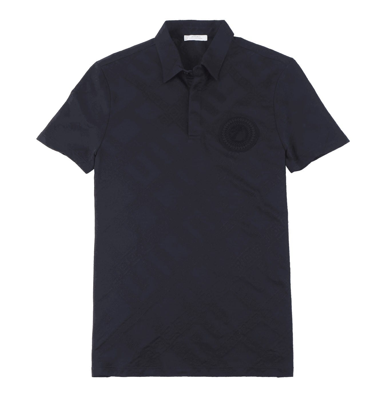 Image of   Navy Polo with Geometric Print and Rubberised Medusa Logo