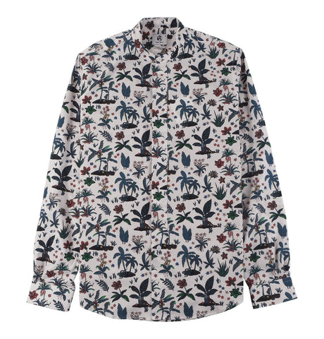 Men's Shirt Casual Fit with Flower Print
