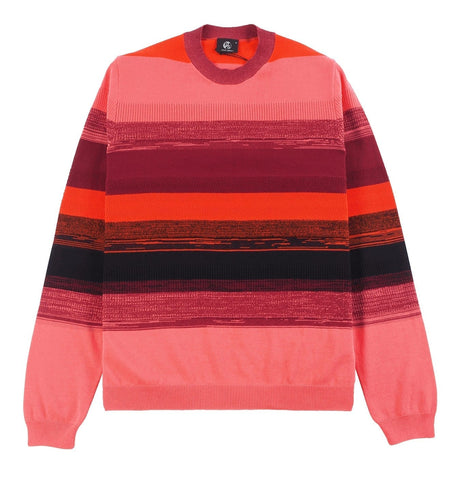 Cotton Striped Crew Neck Red/Pink