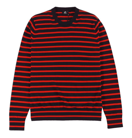 Red and Navy Breton-Stripe Cotton Sweater