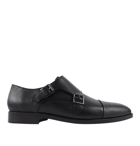 Men's Black 'Luigi' Double Monk-Strap Shoe
