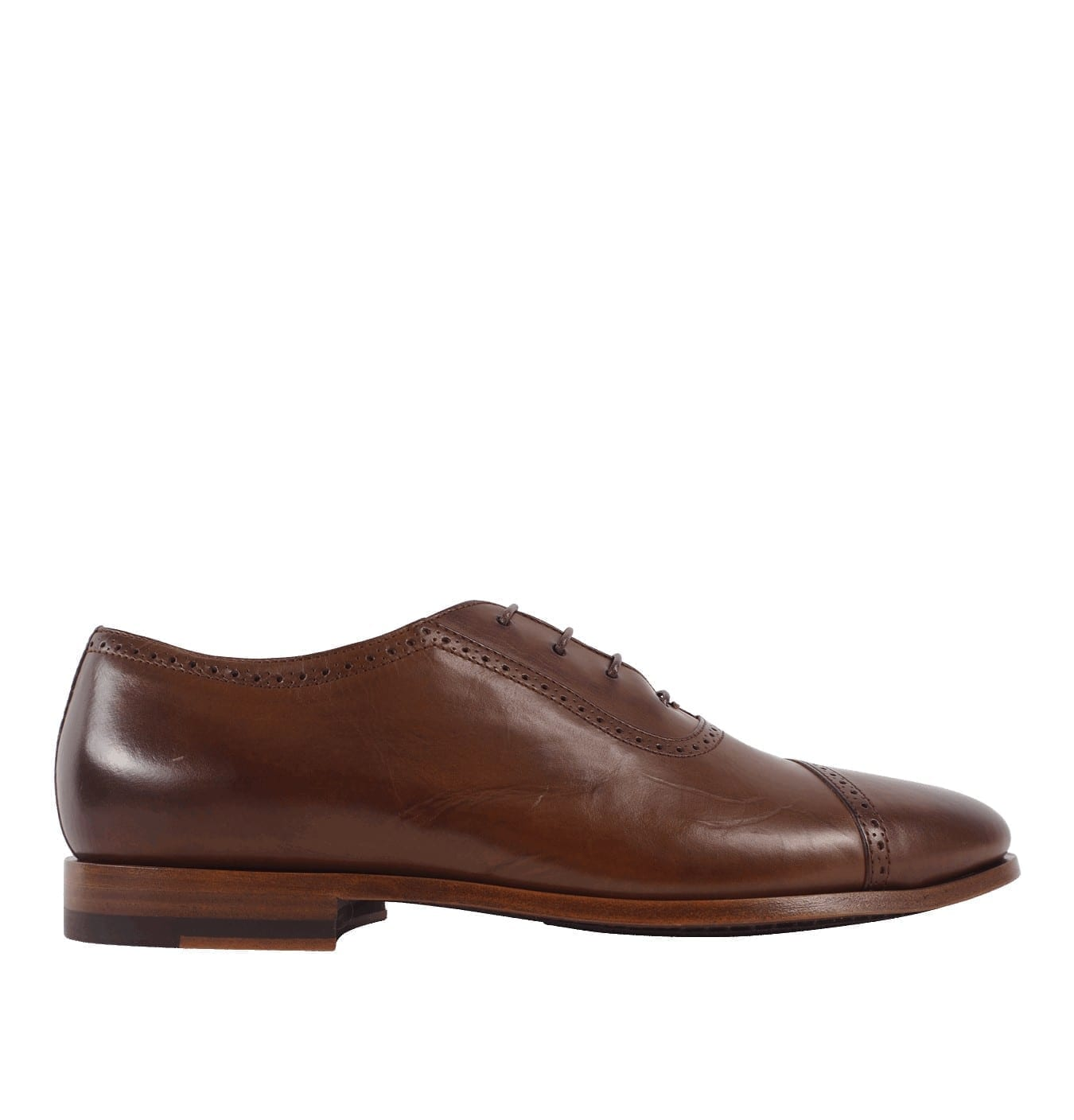 Image of   Men's Dark Tan Parma Calf Leather 'Amber' Oxford Shoes