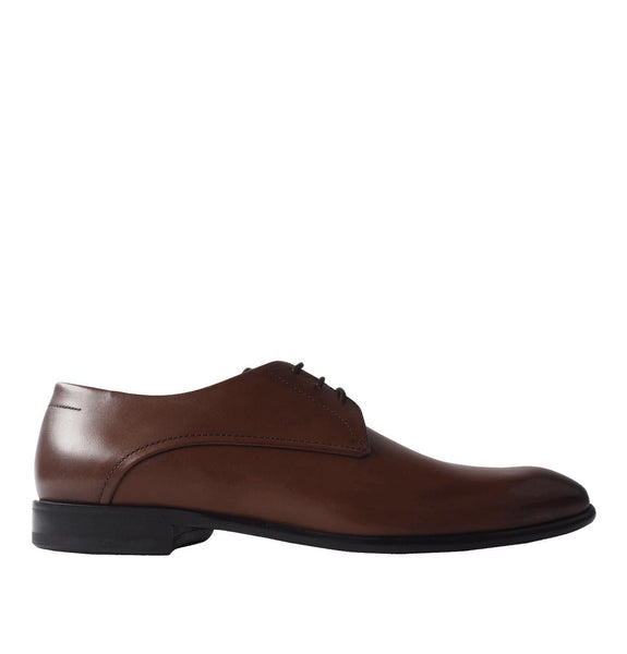 Brown Polished Leather Oxford Shoes