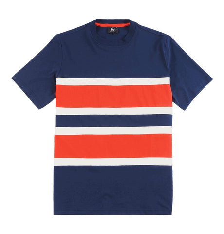 Navy T-shirt with Fabric Stribes