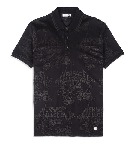 Versace Collection - Polo 3 Bott Nero Jacq.