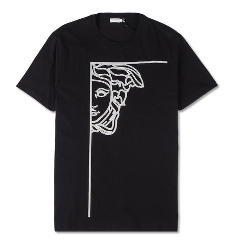 T-shirt Girocollo, black with silver Medusa