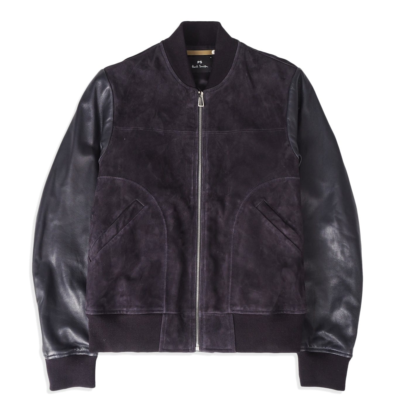 Image of   Mens bomber jacket, suede with leather