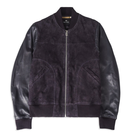 Mens bomber jacket, suede with leather