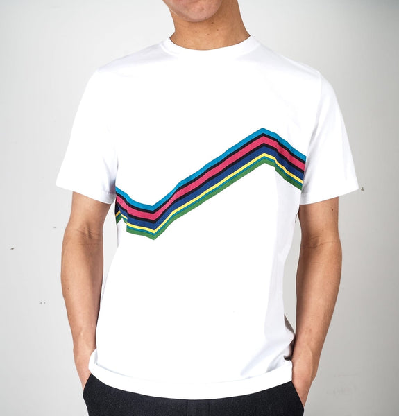 mens t-shirts white multi stripes