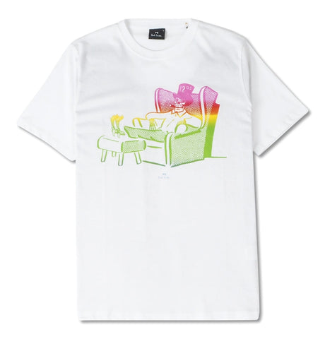 PS Paul Smith - Mens ss reg. White T-shirt with dead comfy print