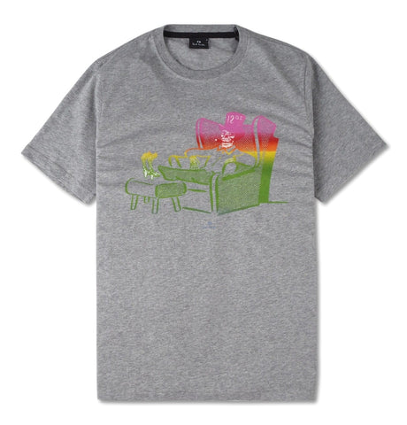 PS Paul Smith - Mens ss reg. Grey T-shirt with dead comfy print