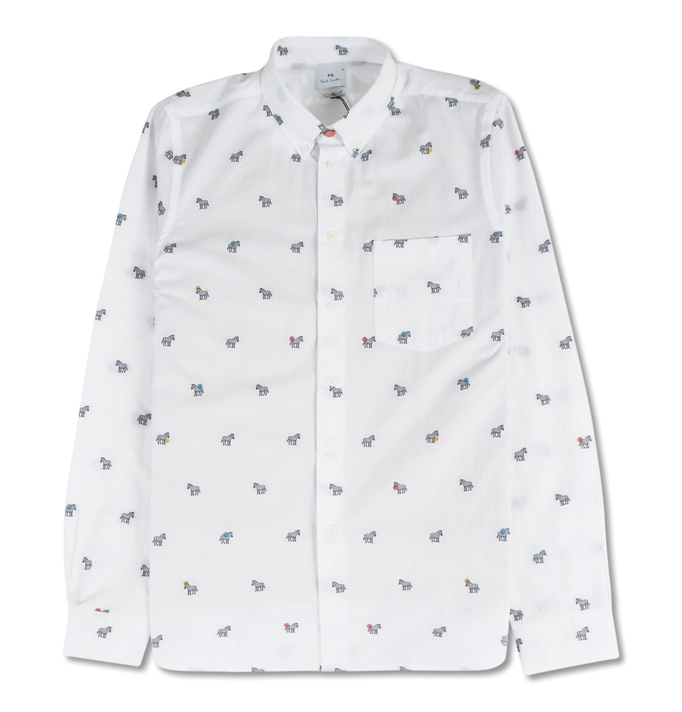 Image of   Mens LS tailored shirt, white with zebras