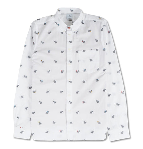 PS Paul Smith - Mens LS tailored shirt, white with zebras