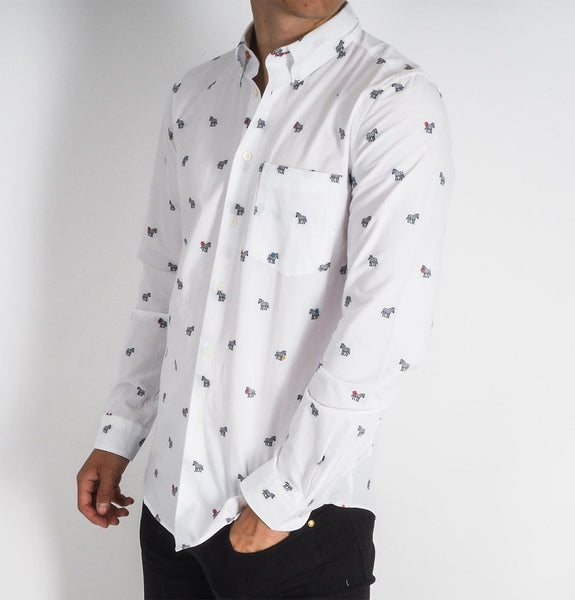 Mens LS tailored shirt, white with zebras