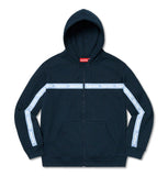Supreme Text Strip Zip Up Hoodie Navy