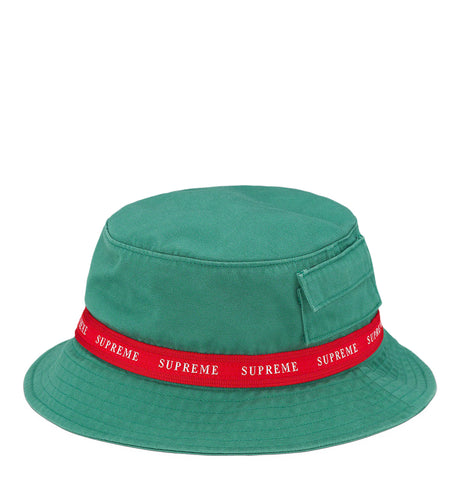 Supreme Jacquard Logo Taped Bucket Hat Green