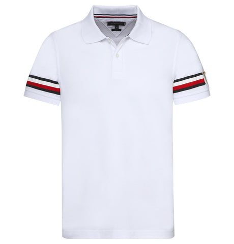 Tommy Hilfiger Logo Sleeve Polo White