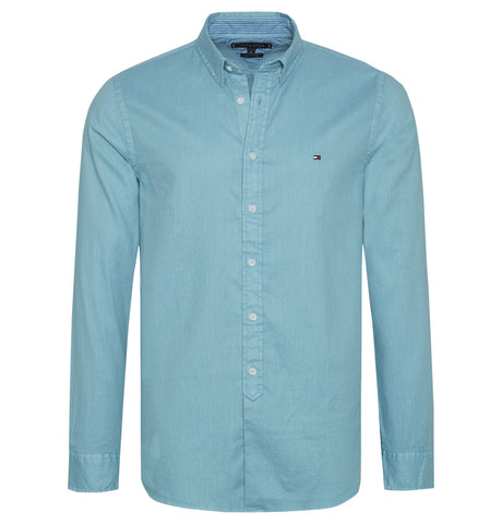 Tommy Hilfiger - Tommy Hilfiger Slim Garment Dyed Dobby Shirt Turquoise