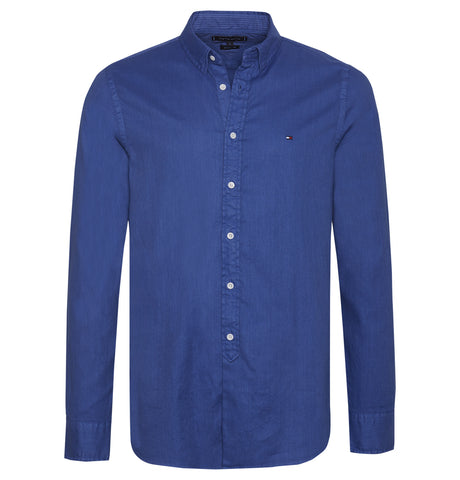 Tommy Hilfiger Slim Garment Dyed Dobby Shirt Blue