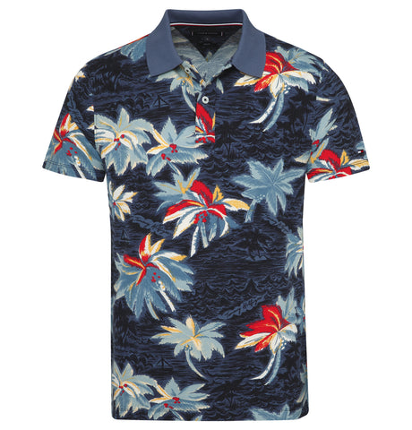 Flower Print Slim Polo