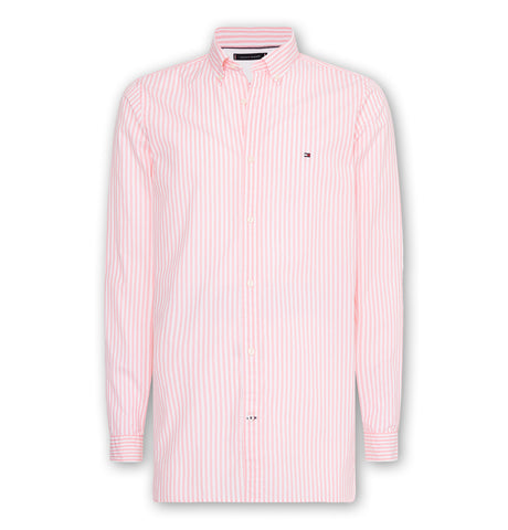 Tommy Slim Natural Soft Stripe Shirt Grapefruit
