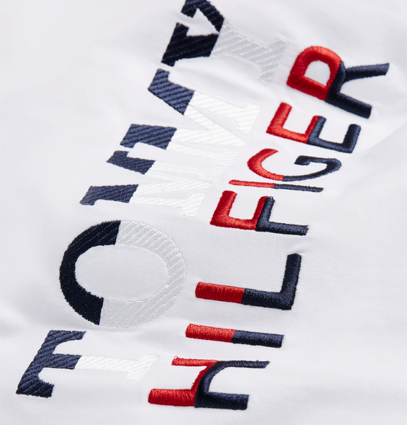 Tommy Corp Texture Embro Tee White