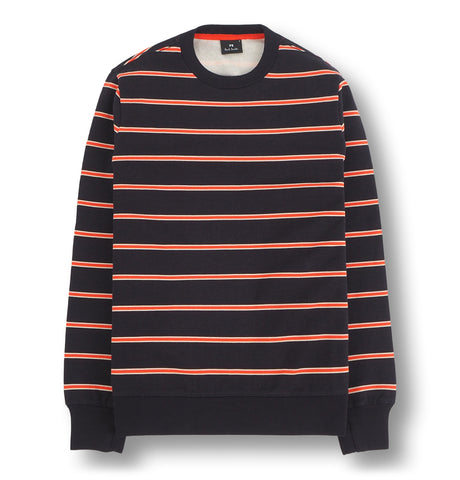 Mens LS Sweatshirt Red Stripes Black