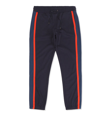 Mens Joggers Orange Stripe Dark Blue