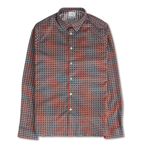 Mens L/S Slim Fit Shirt Cube Foxes