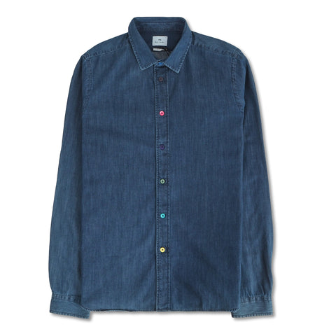 Mens Shirt Slim LSLV Blue Colored Dots