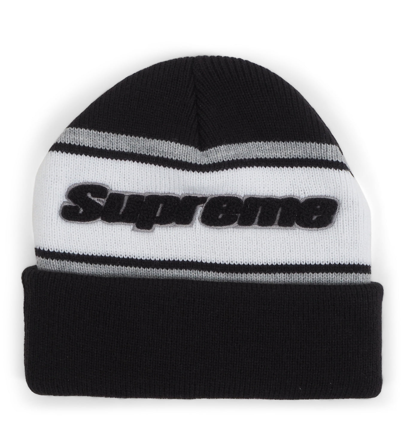 Image of   Supreme Chenille Stipe Beanie Black