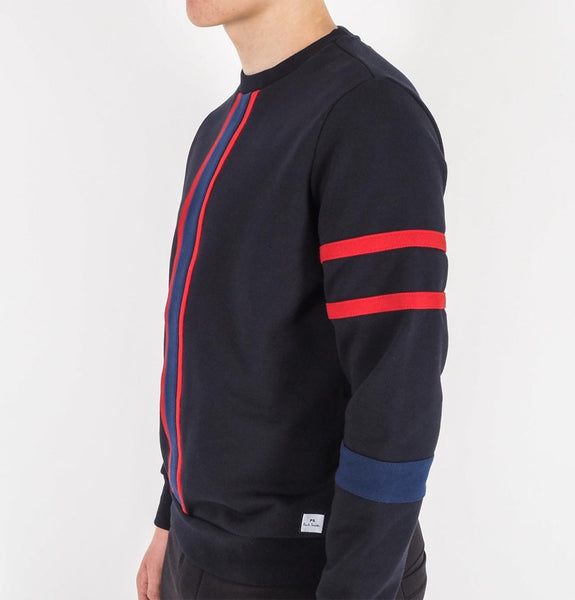Mens Panelled Crew Neck S Dark Blue