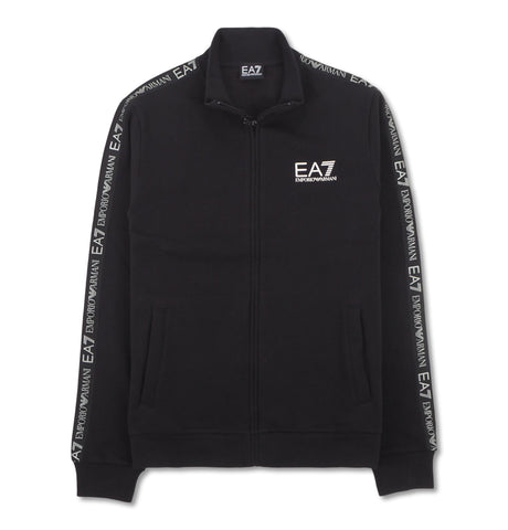 Sweatshirt Zip Small White Logo Black