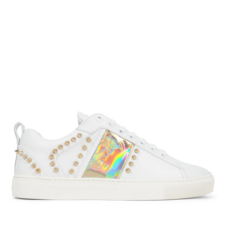 Scarpe Sneakers with Gold Studs White