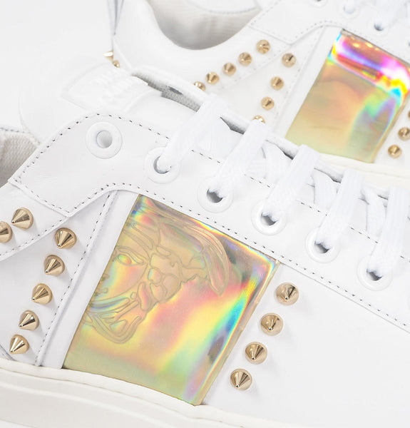 Versace Collection - Scarpe Sneakers with Gold Studs White