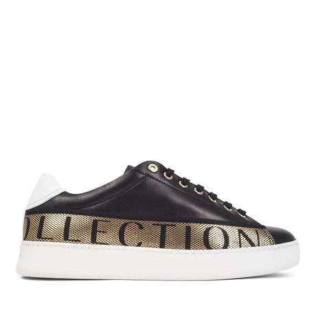 Sneakers with Gold Text Black